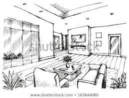 Hand Drawing Interior Design Living Room Stock Illustration Awesome Drawing Interior Design