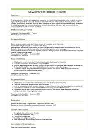 Editor Resumes Sample Newspaper Editor Resume