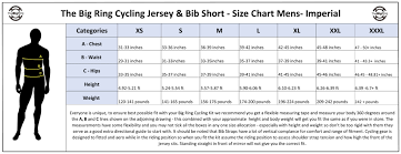 Big Ring Size Chart Size Chart Imperial Cycling Jersey And Bib Short The Big