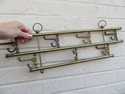 Brass Wall Coat Rack Vintage BRASS Wall Mount Hanging 100 Swivel Double Hook Hardware Coat 33