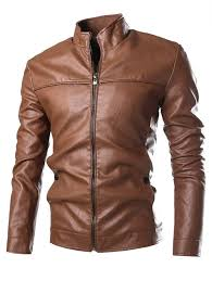 zip cuff stand collar pu leather jacket gold brown 2xl