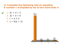 4 1 translate the following into an equation a number c multiplied by six is two more than d 1 6c d 2 2 2c d 6 3 c d 2 4 c 6 d 2