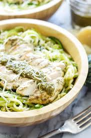 pesto en with zucchini noodles pest en on top of zucchini noodles is a healthy