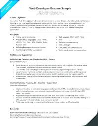 Web Designer Resume Entry Level Web Developer Resume Template Web ...