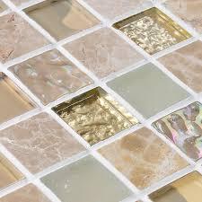 crystal glass iridescent tile backsplash stone glass blend mosaic wall tiles square iridescent