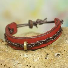handmade leather bracelet for men in red and brown twist and shout in red