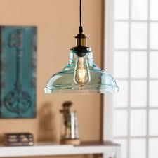 Gracelyn Colored Glass Bell Pendant Lamp - Soft Aqua