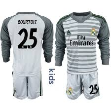 Jersey Sleeve Madrid Gray Thibaut Long Goalkeeper Courtois 25 Youth Real