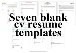 Free Fill In Resume Templates 7 Free Blank Cv Resume Templates For