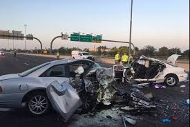 the mangled remains of cars involved in a fatal accident on the northbound interstate 17 in