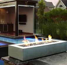 Garden And Lawn  Outdoor Modern Fire Pit  Rectangular Modern Modern Fire Pit