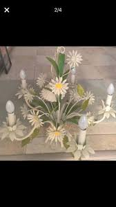 vintage italian tole daisy flower chandelier fl bouquet toleware for in broadview heights oh