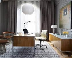 curtains for home office. MOdern Home Office Design With Wooden Desk And Cabinets Along Stylish Seats Also Arched Window Curtains For N