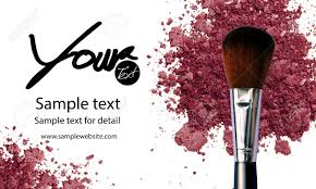 makeup artist business card template with makeup items background stock photo 60010018