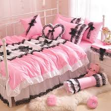 solid color princess black lace bow quilt duvet cover pink ruffles bedspread bed skirt 100 cotton bedding set home textile egyptian cotton bedding twin