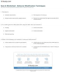 quiz worksheet behavior modification techniques com print what is behavior modification definition techniques examples worksheet