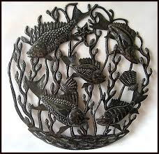 handcrafted haitian metal art fish wall hanging recycled steel drum 24  on fish metal wall art hanging with metal fish wall art sealife haitian metal art designs