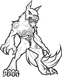 Small Picture Zombie Werewolf Coloring Page LineArt HalloweMonsters