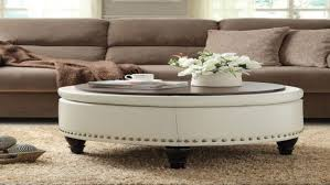 White leather coffee tables Storage Ottoman Contemporary Off White Leather Storage Round Ottoman Coffee Table With Black Wood Legs And Nailhead Trim Craftycow Furniture Breathtaking Round Ottoman Coffee Table For Your Living