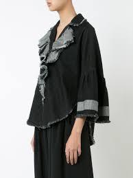 tome denim ruffled jacket black women clothing oversized jackets tumi jackets costco uk