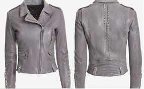 arrow women studded leather moto jacket grey ujht1