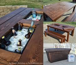 diy outdoor table with cooler.  Diy Patio Cooler Table With Two Ice Boxes Intended Diy Outdoor With