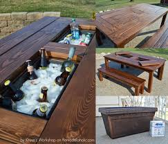 patio cooler table with two ice boxes