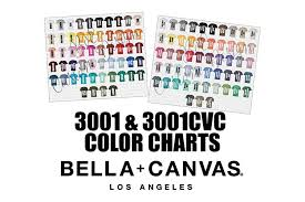Bella 3001 3001cvc T Shirt Color Charts