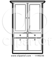 cupboard clipart black and white. black and white armoire wardrobe by lal perera cupboard clipart
