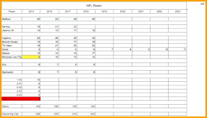 Football Depth Chart Template Excel Fantasy Roster Sheet Appeal
