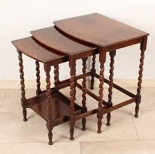 prewar english oak side table mini set with twisted legs ca 1930 great