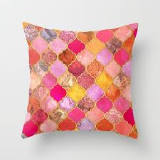 moroccan throw pillows. Hot Pink, Gold, Tangerine \u0026 Taupe Decorative Moroccan Tile Pattern Within Throw Pillow Pillows