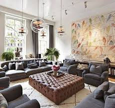 Big Living Room With Large Ottoman As Coffee Table And Grey Seating And  Glass Round Pendant Lights With Track Light And Large Wall Art End Tables  On Amazon