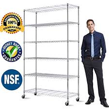 Wire kitchen rack Shelving Units 6shelf Wire Shelving Metal Rack 48quot X18 X82 Nsf Black Kitchen Mats Grey Kitchen Remodel Cost Worksheet Ventanas De Madera Amazoncom 6shelf Wire Shelving Metal Rack 48