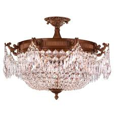 worldwide lighting winchester 4 light french gold and clear crystal semi flush mount light