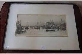 A Frank Harding signed etching, London Bridge, framed