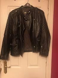 details about next las black leather biker jacket size 20