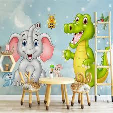 Custom Mural Wallpaper <b>3d</b> Hd <b>Cartoon</b> Elephant Dinosaur ...