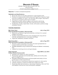Sample Resume Resume Objective Receptionist Volunteer Experience