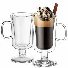 Irish coffee mugs, or glasses, are simply glass mugs either with or without a foot used to serve irish coffee and similar hot drinks, such as blueberry tea. Luigi Bormioli Double Wall Irish Coffee Mug Reviews Wayfair