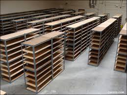 rivet metal shelving with wood