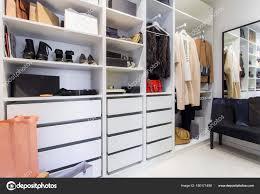 walk closet. Modern Walk Closet Luxury Shoes Bags \u2014 Stock Photo N