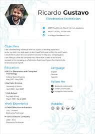 Gallery Of Electronics Engineer Resume Template Formsword Word E