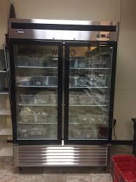 two door glass freezer