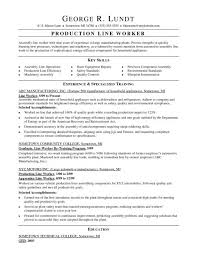 Sample Resume For Assembly Line Operator