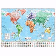 High Quality World Map Worldmapwallstickerhomeofficedeco New High Quality World Map Wall Map Of The World Chart Political Flags Poster Home Art Decor Gift World Map 136 100