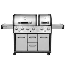 two split lid 8 burner propane gas grill in stainless steel with infrared burner and side burner