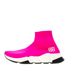 Balenciaga Speed Trainer Size Chart Balenciaga Neon Pink Knit Fabric Speed Trainer Sneakers Size 37