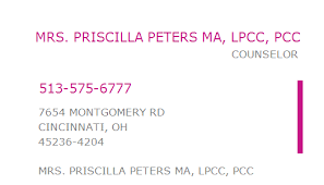 1023112216 NPI Number | PRISCILLA PETERS MA, LPCC, PCC | CINCINNATI, OH |  NPI Registry | Medical Coding Library | www.HIPAASpace.com © 2020