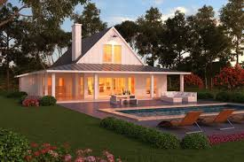 image of farm style house plans with wrap around porch and pool